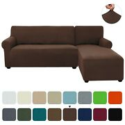 Subrtex L-shape Sofa Cover Elastic Slipcovers Couch Corner Sectional 2 Seaters