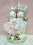 Home Interiors Easter Finery Bunny Couple Figurine Pastel Colors Glazed 2003