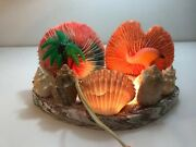 Vintage Coral And Shell Flamingo Table Tv Lamp Chalkware Souvenir Night Light Palm