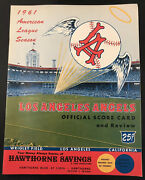 1961 Los Angeles Angels Inaugural Program Year Vs Cleveland Indians Mt Unscored