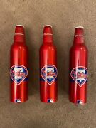 3 Red Phillies Budweiser Empty 16oz Aluminum Beer Bottles Andlsquo07 Free Shipping