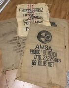 Lot Of 9 Large Coffee Bean Burlap Gunny Bags Sacks Used Top And Side Cut