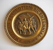 American Revolution Bicentennial Plate 1776-1976 Solders Flag Metal Collectible