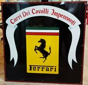 Metal Hand Painted Large 4and039 X 4and039 Carri Dei Cavalli Impennanti Ferrari Sign