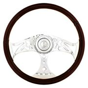 3-spoke Lady Style Wood Steering Wheel W Chrome Horn Bezel And Button
