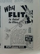 1938 Flit Insecticide Sprayer Is Fatal To Flies Vintage Original Ad