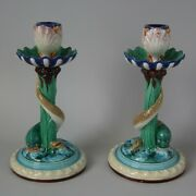 Pair Royal Worcester Majoica Dolphin And Shell Candlesticks