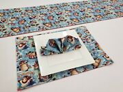 Christmas Snowman Placemat Table Runner Cloth Napkins Set
