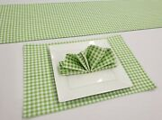 Green And White Checked Gingham Placemat Table Runner Cloth Napkins Set