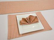 Orange And White Checked Gingham Placemat Table Runner Cloth Napkins Set