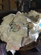 Lot Of 50 Vintage Linens Crochet Doilies Embroidered Runners Mats Lace