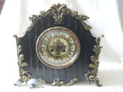 Antique 19th C French Bronze And Slate Mantle Medaille Dand039argent Clock