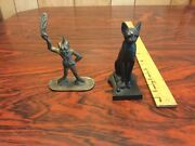 2 Figurines, Vintage Solid Brass Cornish Piskey And Egyptian Cat Mma.