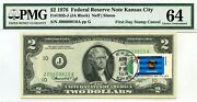 2 Dollars 1976 First Day Stamp Cancel State Flag From Oklahoma Value 3000