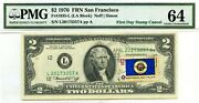 2 Dollars 1976 First Day Stamp Cancel State Flag From Minnesota Value 3000
