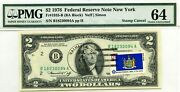 2 Dollars 1976 Stamp Cancel State Flag From New York Lucky Money Value 3000