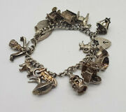 Vintage Solid Silver Charm Bracelets 51 G. House,carriage,animal Ect.,