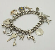 Vintage Solid Silver Charm Bracelets 55.5 G. Ring,key,coin,animal Ect.,