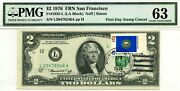 2 Dollars 1976 First Day Stamp Cancel State Flag From New Hampshire 3000
