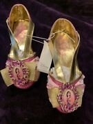 Disney Store Deluxe Mulan Shoes Costume Dress Up Slippers Heart Pink Gold New
