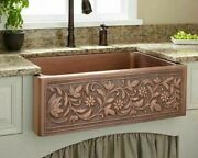 Kitchen Sink With Drains Copper Without Faucet Polished Rectangular Floral Sinks