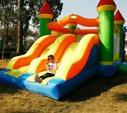 Inflatable Bouncer Castle Trampoline Obstacle Double Slides Kids Party Play Area