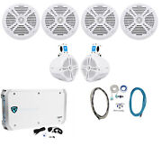 4 Rockville Rmsts80b 8 2000w Marine Boat Speakers+2 Wakeboards+amp+wire Kit