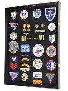 Xl Military Medals Pin Patches Badges Ribbon Insignia Flag Display Case Cabinet