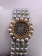 Vintage Womens Lucien Piccard 14k Yellow Gold Pearl 9621 17j Watch Serviced