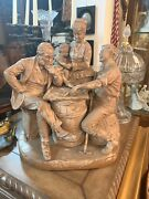 Antique John Rogers Sculpture Figural Andndash Checkers Up At The Farm