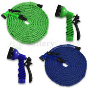 Latex 25 50 75 100 Ft Expanding Flexible Garden Water Hose With Spray Nozzle