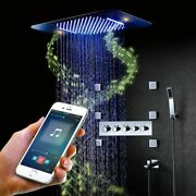 Led Shower Set Waterfall Bathroom Thermostatic Head Tap Rain Faucet With Speaker