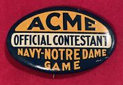 Antique C. 1920and039s U Of Notre Dame Vs Navy Football Game Pin Button Vintage Old