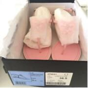 Auth Cc Rhinestone Bow Thong Sandals Slingback Leather Size 36.5 Pink New