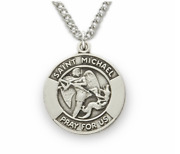 Sterling Silver Patron Of Police Officers Engraved Medal Necklace And Chain