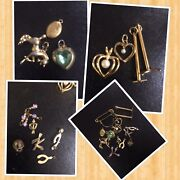 Vintage Lot Of Charms And Lockets In Gold Tone Pin