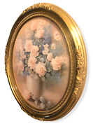 T.c. Chiu Fine Art Print Vintage Oval Gold Frame And Signed 15 X 18 X 1.5 175