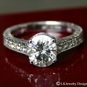1.25ct Moissanite Round Forever One Micro Pave Vintage Elsa Engagement Ring