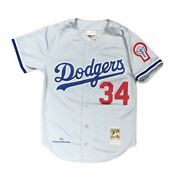 Los Angeles Dodgers Fernando Valenzuela Grey Authentic Jersey Mitchell And Ness