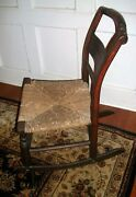 Antique Hitchock Child's Rocking Chair-rush Seat-great Patina