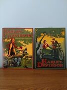 Harley Davidson Shifting Into Popularity And Old Motorcycle 16 X 12 Tins Set Of 2