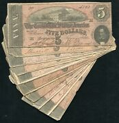 10 1864 5 Five Dollars Csa Confederate States Of America Currency Notes D