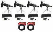 4 Audio Technica Dynamic Podcasting Podcast Microphones+stands+pop Filters