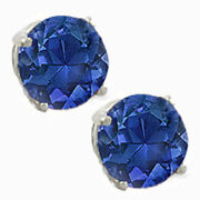 Genuine Blue Sapphire Round Shape Stud Earrings With Certificate Valentines Sale