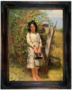 Brown Blackberry Picking 1875 Wood Framed Canvas Print Repro 12x16