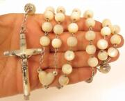 Vintage Huge Catholic Mother Of Pearl Sterling Silver 925 Rosary Bead Necklace