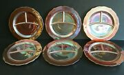 Lot Of 6 Vintage Federal Iridescent Carnival Glass Divided Plates Rose Garden