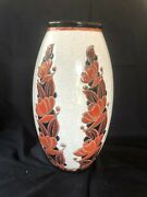 Rare 12 Charles Catteau Boch Frères Keramis Vase D1065 W / Dramatic Flowers