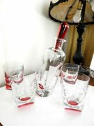 Baccarat Crystal Projection Decanter And 4 Dof Glasses Red France - Original Box