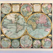 Hand Colored Etching / Engraving Of 1706 Schenk Double Hemisphere Map Of World